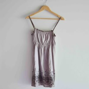 Anthropologie Embroidered Floral Mauve Sun Dress